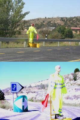 Maniquí-robot de carretera
